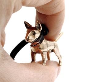 Vakkancs Bullterrier bronze 3D keychain