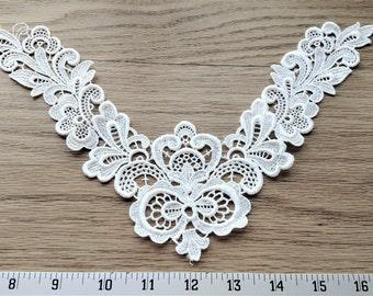 White venice lace floral yolk/collar rayon/polyester applique/trim