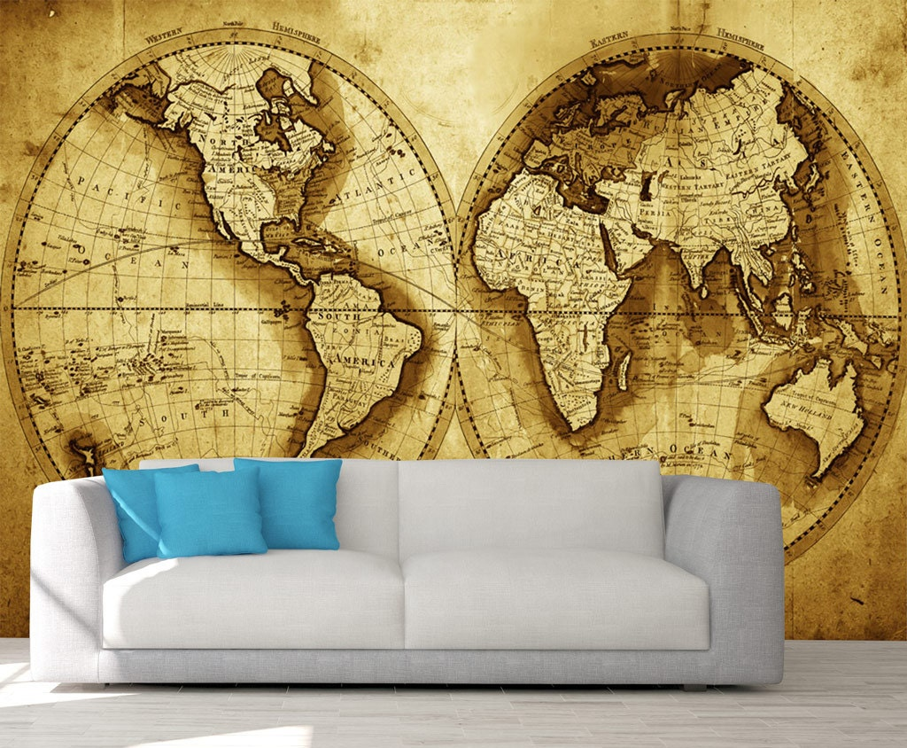 Old World Map Peel & Stick Wall Mural, Photo Wallpaper, Eco ...