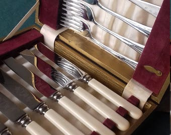 vintage cutlery set boxed Firth sheffield ivorine