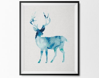 Watercolor Deer cross stitch pattern, modern cross stitch pattern, Digital Cross stitch pattern