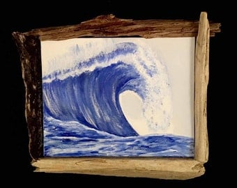 Original Wave Painting with Driftwood Frame