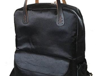 Back satin Backpack,Groomsmen gift,minimalist,city bag, leather handle,Spring,Summer,Vintage,Laptop,Personalized Gift,Yoga,School,Book bag