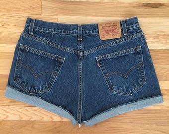 Vintage LEVI'S Cutoffs Sz 33 Women's Denim Red Tab Jean Shorts
