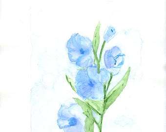 "Blue Gladiolus an original watercolor painting on paper 8 1/2"" x 11"""
