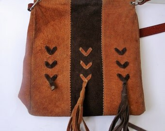 Suede Bag, Brown and orange Suede Handbag, Suede Fringe Bag , Handbag with Fringe, Suede Fringe Bag, Brown Fringe Bag, Suede Crossbody Bag