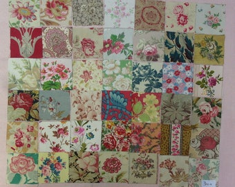 Set of 42 small coupons old fabrics for patchwork, ref 300