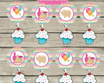 Painting Pottery Cupcake Toppers Party Ideas Pink Chevron Clay Girl Instant Download Pig Balloons