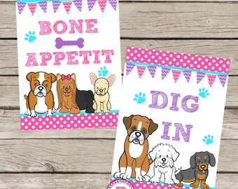 Puppy Birthday Party Ideas Polka Dot Puppy Adoption Party Food Signs Adopt a Pet Puppies Dog Boxer French Bulldog Maltese Golden Dig In Bone