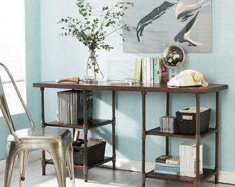 Santara handmade writing office desk - Walnut wood + Grey metal legs