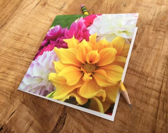 Dahlia Notecard- Orange Bouquet