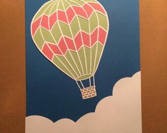 Hot air ballon papercut