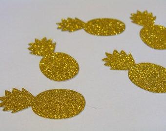 Pineapple Confetti-100ct-Gold Glitter Pineapple Confetti,Pineapple Birthday Confetti,Pineapple Table Decor,Tropical Confetti,Summer confetti
