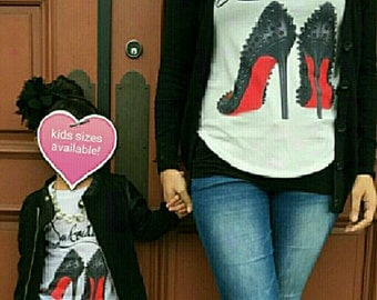 fashion High heel shoes tee