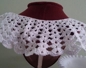 Vintage White Scalloped Vintage Crochet Lace Collar Button Back for Vintage Dress or Blouse Button Collar Neckline