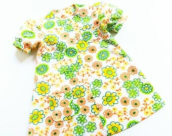 GirlS dreSs size 3-4Y VinTage reTro hiPpie floWers 70s 60s Kleid hipSter 92/98