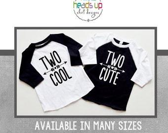 Twin Second Birthday Shirt Raglan Boy/Girl - 2nd Birthday tshirts Boy/Girl Twins - Two Cute - Two Cool - Trendy Two Bday Tees Kids - Gift