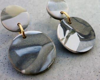 Bambino Earrings - White Gold / Stud Earrings / Drop Earrings / Abstract Earrings / Modern Earrings
