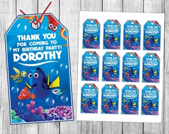 Finding Dory Thank You Tags, Finding Dory Favor Tags, Finding Dory Gift Tags, Finding Dory Tags, Finding Dory Tag Printable, Birthday Tags
