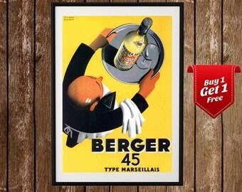 Berger 45 Vintage Print - Vintage Retro Liquor Art, Swiss Absinthe Poster, Absinthe, Anise, Swiss Ad, Berger, Berger Art, Berger Poster