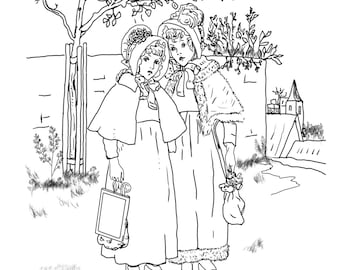 Schoolgirls-A Hand Drawn Vintage Coloring Page For Adults And Children