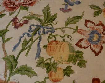 Vintage - Remnant 3 yds. Jay Yang bright floral on white subtle jacquard cotton