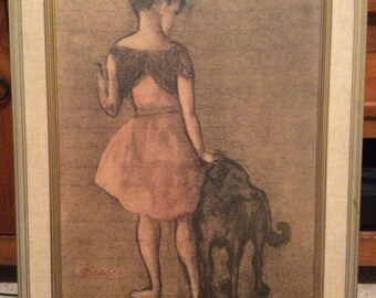 Picasso framed print, Fillette Au Chien