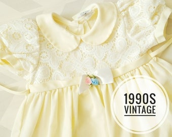 2T toddler dress, Pale yellow baby dress, 90s vintage baby dress, baby girl dress, spring baby dress, 2T vintage yellow toddler dress