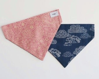 Reversible Dog Bandana | Pink Paisley + Blue/White Clouds