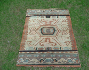 Tribal Rug, Nomadic Rug, Turkish Rug, Vintage Oushak Rug, Anatolian Rug, Oushak Rug 5x4, Kids Room Rug, Multicolor Rug