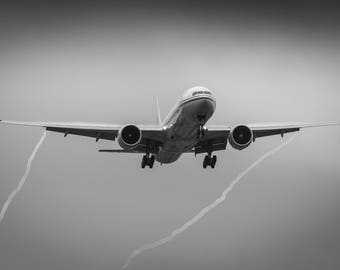 Photograph - Los Angeles - LAX - Airplane - Landing - Trailing Vortices - Rain - Black and White