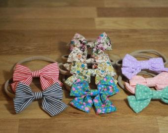 Baby Girl bow, elastic bow, baby headband, baby bow headband, baby bow, baby girl bow, polka dot baby headband