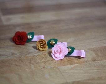 rose hair clips, red rose hair clips, flower hair clips, pink rose clips, flower girl accessories, little girl hair accessories, flower hair