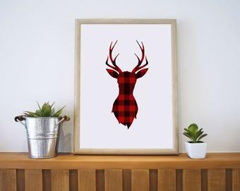 Deer Silhouette - Red Plaid - 8x10 Wall Art - Plaid Deer Wall Art, Deer wall art, deer silhouette, silhouette artwork, deer artwork