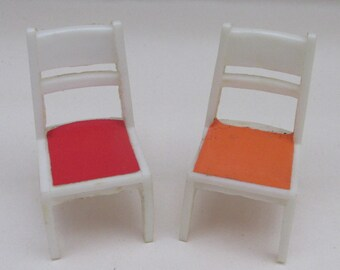 Vintage Plastic Dolls House Miniature White Chairs with Coloured Seats