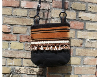 Shoulder bag leather/velvet - Upcycling