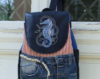 Backpack Sea Horse, Maritim, upcycling, artificial leather, jeans