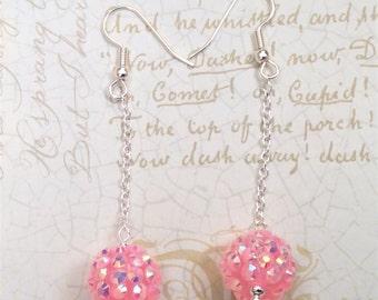 Pink Bling Balls Dangle Earrings - Disco Ball Earrings - Recking Ball Earrings - Pink Earrings- Ball and chain Earrings, Pink Dangle Earring