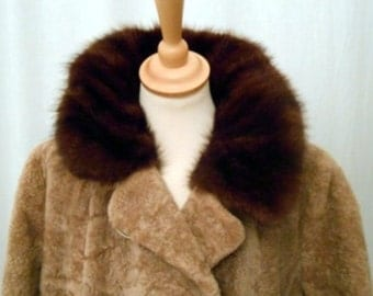 romantic 60s vintage coat fur collar beige Brown