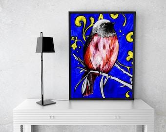 Digital Art Print Bird Blue Yellow