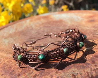 Antiqued copper and African Turquoise bracelet