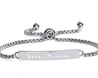 Any Name Bracelet - Sleek Stylish Fashion Jewelry Gifts for Her Including Free Gift Box and Bag