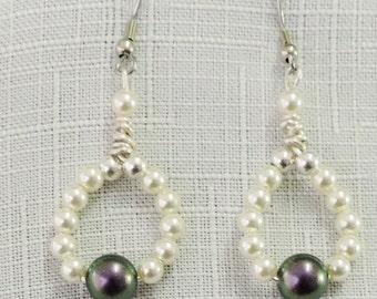 Elegant Purple and Cream Pearl Earrings