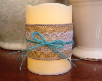 Burlap and lace candle, wedding candle, wedding reception, wedding decor, reception decor, centerpiece, rustic wedding, country candle, aqua