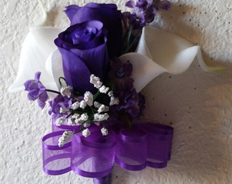 Ivory Calla Lily Purple Rose Corsage or Boutonniere