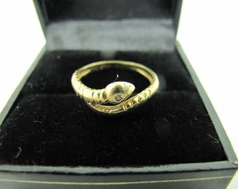 Sale:  Antique Victorian 14K Snake Ring With Diamonds.  Diamond, Gold, Ring