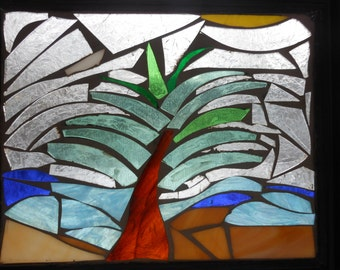 Stained glass mosaic, Palm tree beach scene
