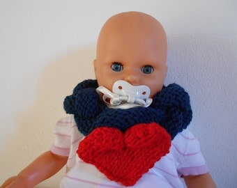 "OOAK handmade neck warmer ""HEART"",girl 1 year old"