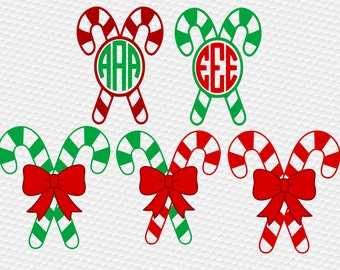 Candy cane monogram frame SVG Clipart Cut Files Silhouette Cameo Svg for Cricut and Vinyl File cutting Digital cuts file DXF Png Pdf Eps