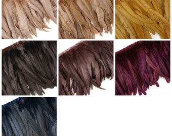 Metallic - Iridescent Coque Tail Feather Fringe - FCQND10 1 YARD